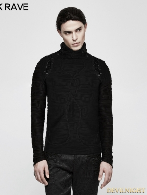Black Gothic Stereo Stripe Knitted T-Shirt for Men
