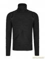 Black Gothic Stereo Stripe Knitted T-Shirt for Men