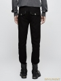 Black Gothic Military Uniform Mens Trousers