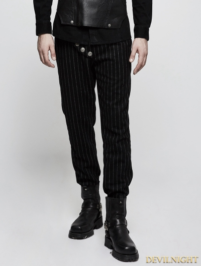 Black Gothic Military Uniform Stripe Men Trousers