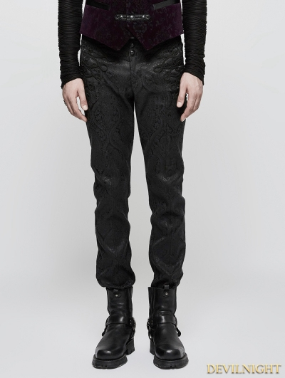 Black Vintage Gothic Jacquard Pants for Men