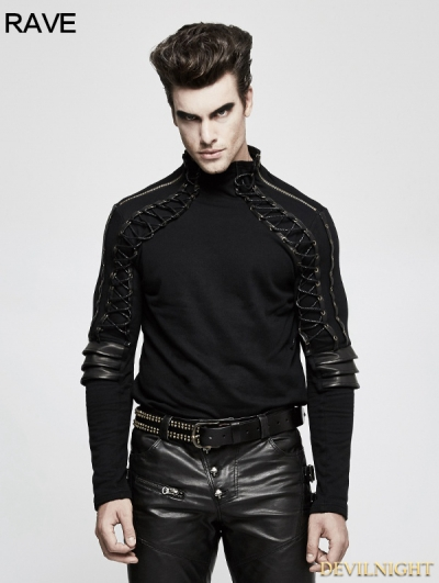 Black Steampunk Armor High Collar T-Shirt for Men