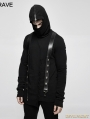 Black Gothic Thread Knitted Hooded Sweater for Men