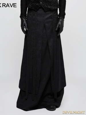 Black Gothic Half Long Skirt for Men