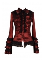 Red Long Sleeves Ruffle Gothic Blouse for Women