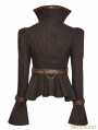 Brown Steampunk Trumpet Sleeve Short Jacket for Women