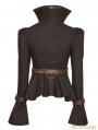 Brown Steampunk Trumpet Sleeve Short Jacket for Women