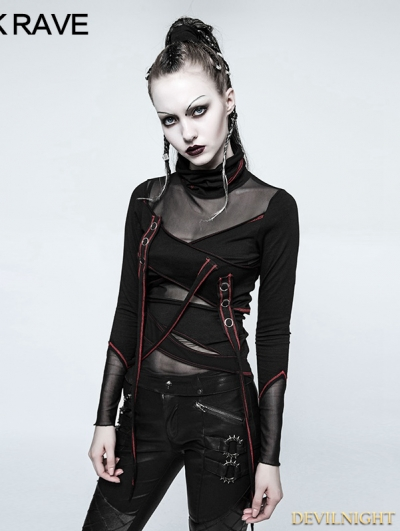 Black and Red Gothic Punk Multi Split T-shirt for Women