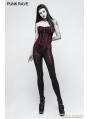 Black and Red Gothic Gorgeous Slim Long Leggings