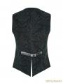 Green Gothic Printing Vintage Pattern Vest for Men