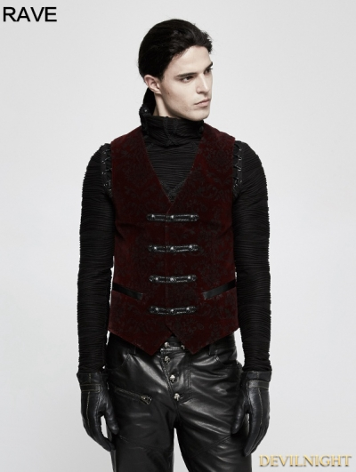 Red Gothic Printing Vintage Pattern Vest for Men