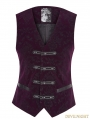 Purple Gothic Printing Vintage Pattern Vest for Men