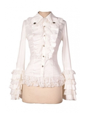 White Long Sleeves Ruffle Gothic Blouse for Women