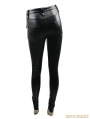 Black Gothic Punk PU Leather Cross Legging for Women