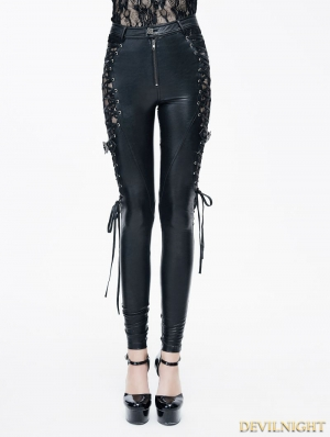 Black Gothic Punk PU Leather Lace-up Legging for Women