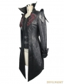 Black Vintage PU Leather Gothic Trench Coat for Women