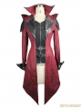 Black and Red Vintage PU Leather Gothic Trench Coat for Women