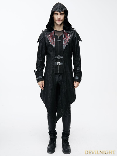 Black Vintage PU Leather Gothic Trench Coat for Men