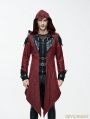 Black and Red Vintage PU Leather Gothic Trench Coat for Men