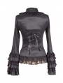 Black Long Sleeves Ruffle Gothic Blouse for Women