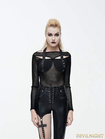 Black Gothic Punk Rivet Net Long Sleeves Shirt for Women