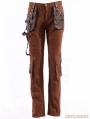 Coffee Industrial Steampunk Man Trousers with Pocket Bag