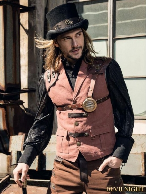 Brown Industrial Steampunk Man Vest