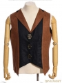 Brown and Black Industrial Steampunk Man Vest