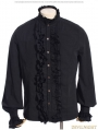 Black High Collar Ruffles Steampunk Blouse for Men