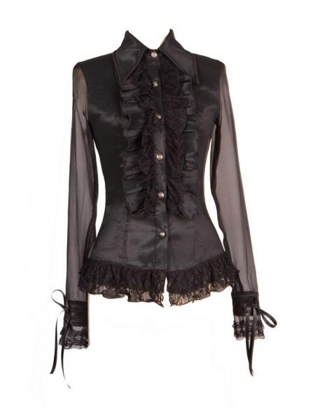 Black Blouse Sheer Sleeves