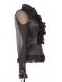 Black Sheer Long Sleeves Ruffle Gothic Blouse for Women