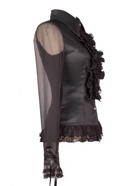 Black Sheer Ruffle Blouse 71
