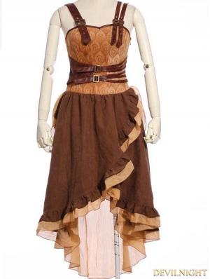 Brown Asymmetrical Hem Steampunk Dress