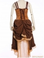 Brown Asymmetrical Hem Steampunk Dress