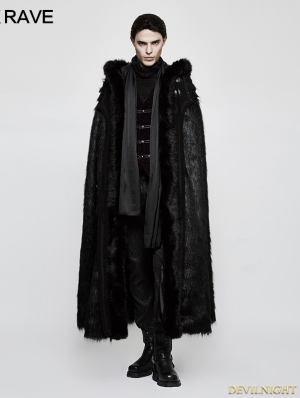 Black Gothic Witch Long Fur Cloak for Men