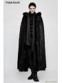Black Gothic Witch Long Fur Cloak for Men