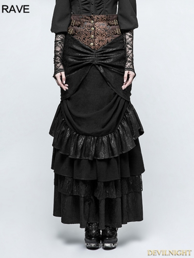 Black Steampunk Classical Half Skirt