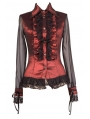 Red Sheer Long Sleeves Ruffle Gothic Blouse for Women