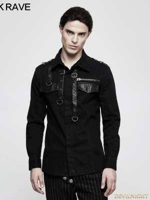Black Gothic Punk Long Sleeve Shirt for Men