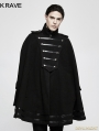 Black Gothic Military Uniform Worsted Cloak for Men