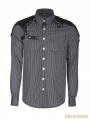 Grey Steampunk Striped Chain Shirt for Men