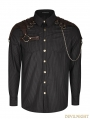 Brown Steampunk Striped Chain Shirt for Men