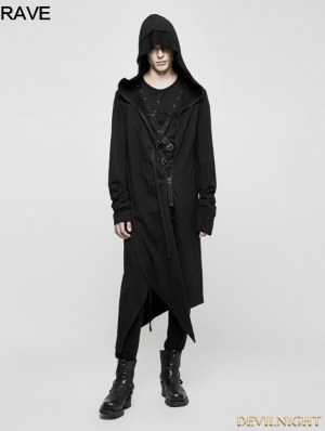 Black Gothic Dark Cardigan Hoodie Sweater for Men