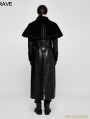 Black Gothic Cloak Long PU Leather Coat for Men