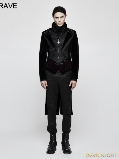 Black Gothic Vintage Gentleman High-Low Coat for Men