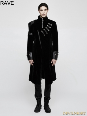 Black Gothic Handsome Punk Medium Length Coat for Men