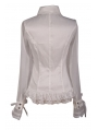 White Sheer Long Sleeves Ruffle Gothic Blouse for Women