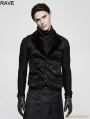 Black Gothic Vintage Jacquard Vest for Men