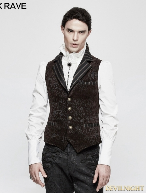 Coffee Steampunk Vintage Jacquard Vest for Men