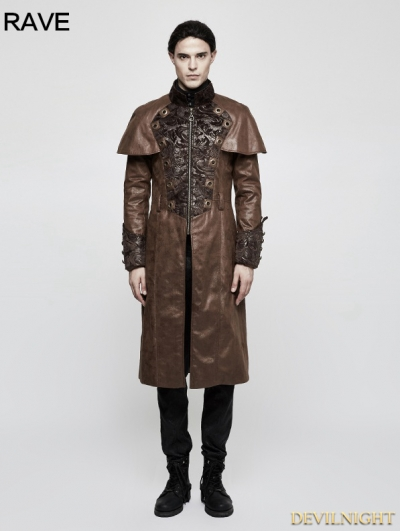 Brown Steampunk Vintage Style Cape Coat for Men